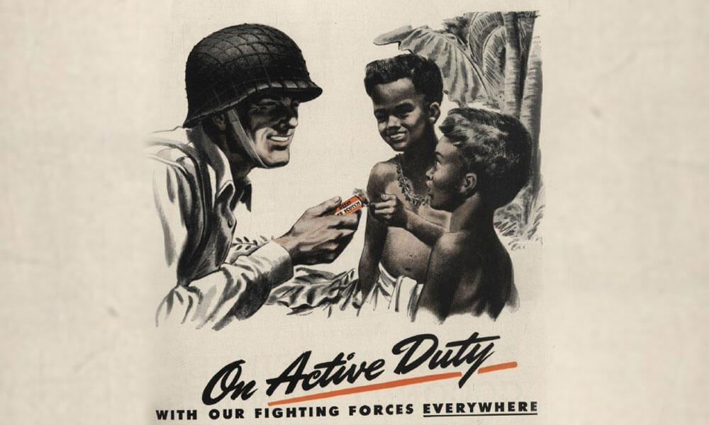 Anuncios de venta de chicle durante la segunda guerra mundial