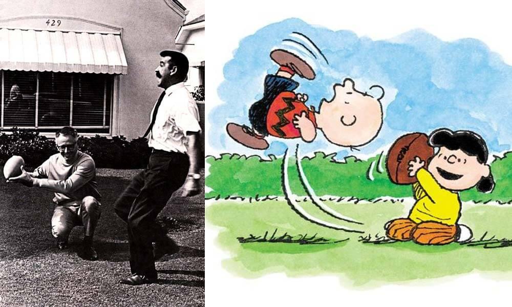 Bill Meléndez y Schulz interpretando la fallida patada de fútbol americano de Charlie Brown