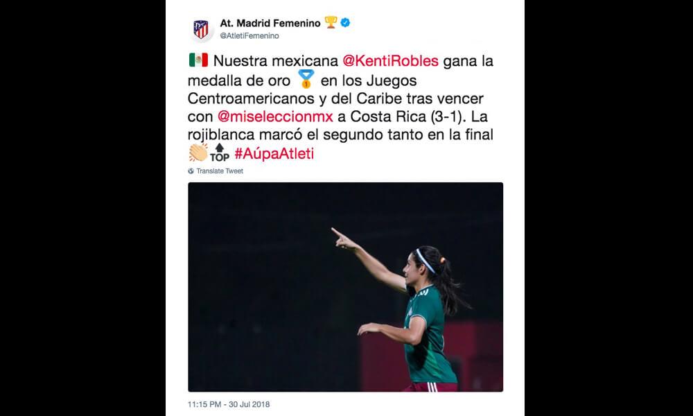 Felicitaciones para el Tri Femenil por el Atlético de Madrid Femenino