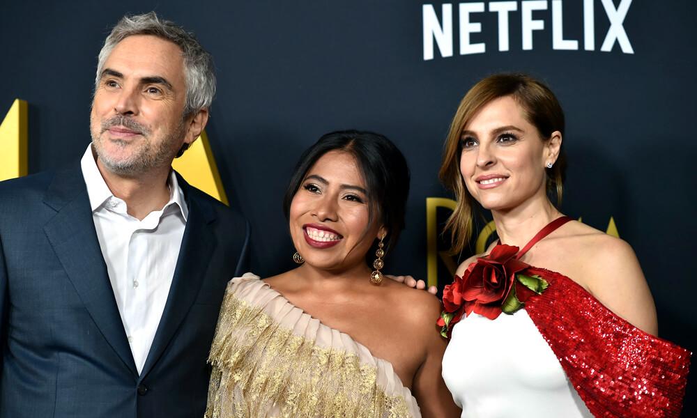 Yalitza Aparicio en la entrega de los premios Óscar donde Roma ganó a Mejor Película